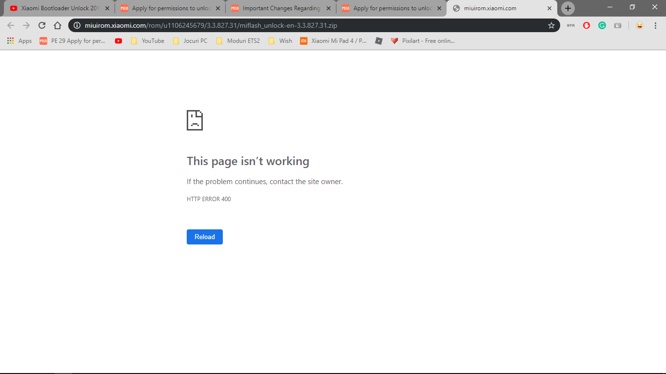 Bootloader Unlock Download Error | Xiaomi European Community